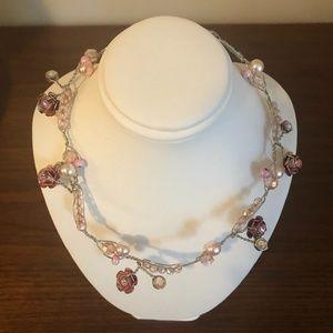 Vintage Pink iridescent flower choker necklace